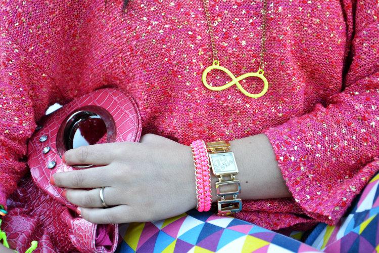 infinito, collana, accessori, borse, bracciali con catene, fluo