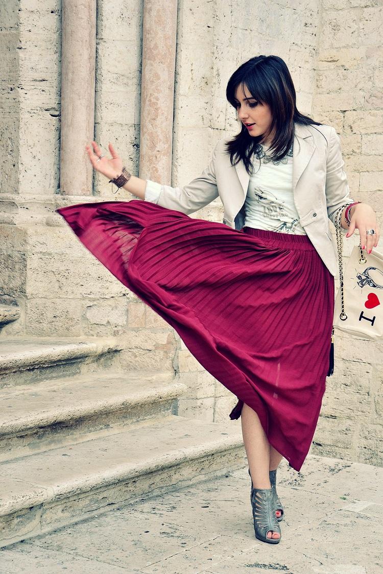 F.I.N.E bag, fashion blogger italiane, gonna burgundy, gonne lunghe, outfit, plissè, Wave-O,