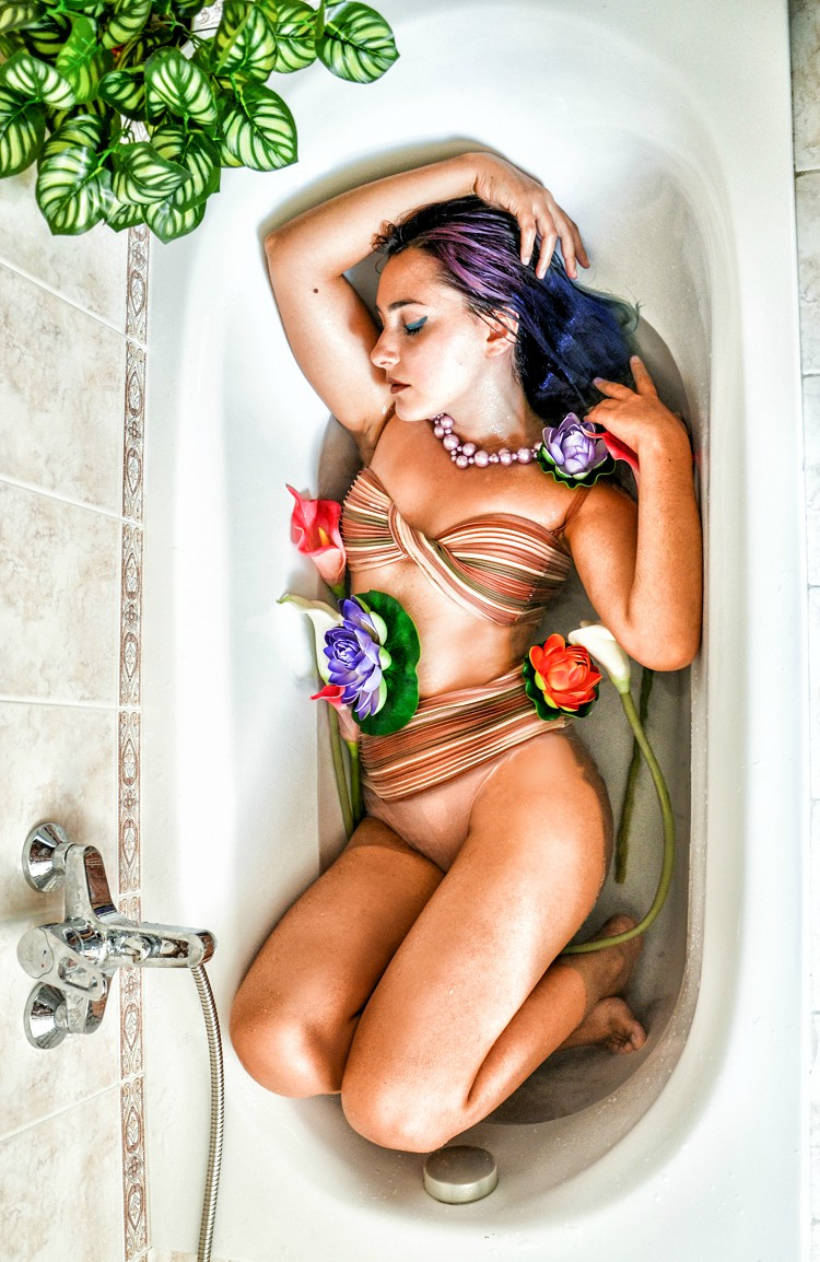 bathtub fashion editorial
