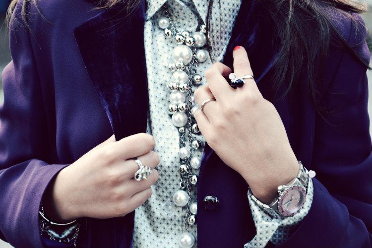 jack e co. Orologi, gioielli, gerardo sacco, 2 jewels, dettagli outfit, look, outfit, fashion blogger italiane, viola, perle