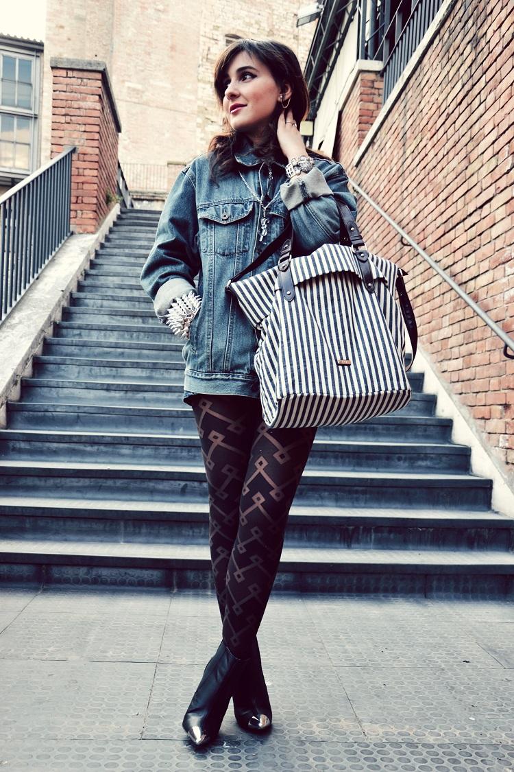 outfit, borchie, skulls, denim, giacche jeans, street style, HeM
